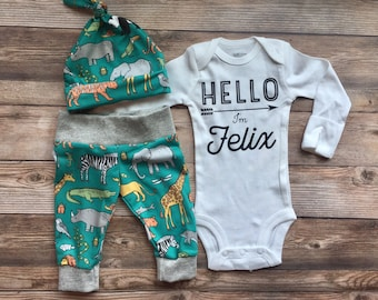 Safari Zoo Animal Newborn Set, Newborn name outfit, coming home outfit, boy coming home outfit, newborn boy, baby shower gift, baby boy
