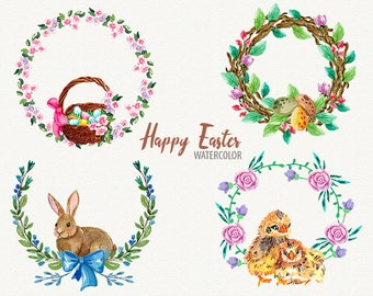 Happy Easter, Easter wreath, watercolor Easter, Easter clip art