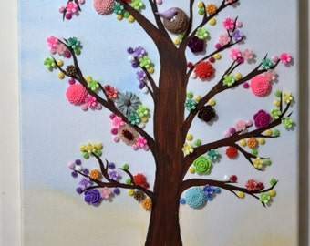 Button tree canvas art - home decor