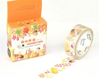 AUTUMN TIME Japanese Washi Tape, Masking Tape, Planner Stickers,Crafting Supplies,Scraping Booking,Adhesive Tape,Floral Washi Tape