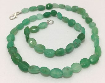 """78 Cts Natural Chrysoprase AAA Faceted Oval 6x7 to 7x9 mm Gemstone Beads 17"""" Semi Precious Beads/Beaded Necklace/Free Shipping Worldwide"""