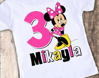 Minnie Mouse red or pink designed birthday t shirt tshirt personalized