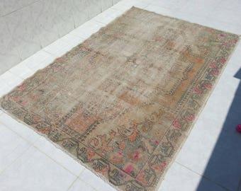 Oushak Rug 209x141 cm 6'8x4'6 ft Turkish Oushak Rug Handmade Carpet, Turkish Wool Vintage Carpet, Overdyed Rug, Turkish Rug Handmade Carpet