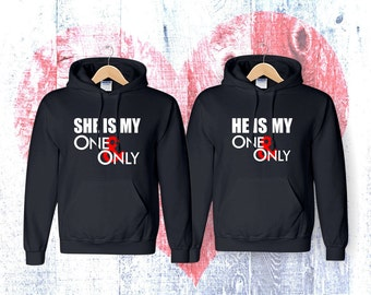 Matching  She Is My One And Only He Is My One And Only  matching couple hoodies  hoodies Sweatshirt Couple  Hoodie High Quality
