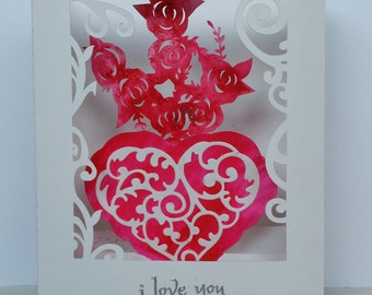 Mothers Day Handmade shadow box card with hearts and roses that illuminates