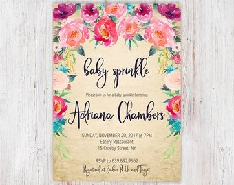 Floral Baby Sprinkle Invites with Colorful Invitations, Baby Sprinkle Invitation Printable OR Printed, Elegant, Shabby Chic Invites 12a