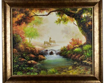 "Impressionism, Large Original Hand Painted Landscape Art, ""Elks in Paradise"" 25 x 30"