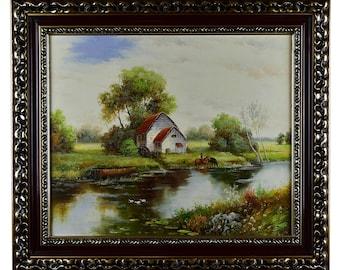 "Impressionism, Large Original Hand Painted Landscape Art, ""Cottage by the River"" 25 x 30"