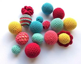 Set of 15 Crochet beads Wooden crochet cotton beads Round beads Handmade teething crochet wooden beads Crocheted bead Colorful