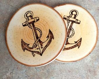 Woodburned Coaster, Anchor Coaster, Wood Coaster, Maple Coaster, Made In Maine, Nautical Coaster, Housewarming Gift, Hostess Gift, Coasters