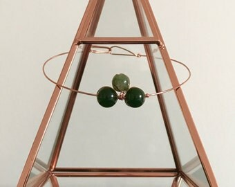 Wire choker, copper, choker, Jade and agate choker, healing necklace