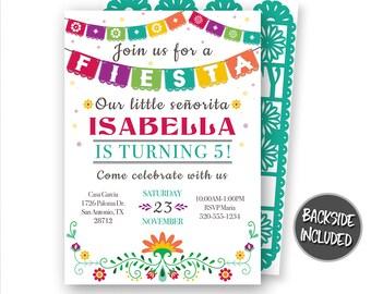 Fiesta Invitation, Fiesta Birthday Invitation, Mexican Fiesta Invitations, Hispanic Invitations, Fiesta Printables, Personalized