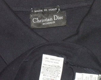 SALE***Authentic Christian Dior Monsieur Excellent Luxury Dark Blue Made in Italy Polo Shirt