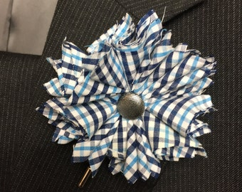 Blue Plaid Flower Lapel Pin