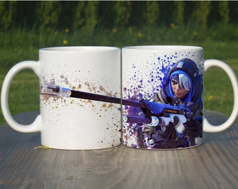 Ana Mug, Color Changing Mug, Watercolor Coffee Mug,Overwatch Coffee Cup, Overwatch Ana, M114