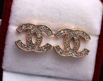 Rhinestone chanel earrings