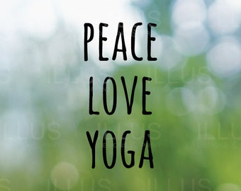 Peace Love Yoga Vinyl Decal //  Car Window Sticker, Car Decal, Laptop Decal, Wanderlust Decal, Yoga Decal, Yoga Sticker