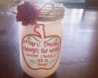 Teachers gifts- mason jar- painted mason jar