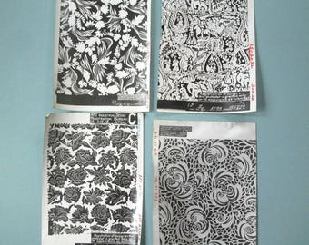 group of 8 vintage 1920's fabric designs