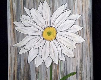 Daisy Painting on Wood