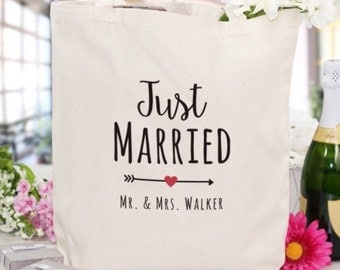 Just Married Canvas Tote -married , just married , wedding gift , wedding , husband , wife