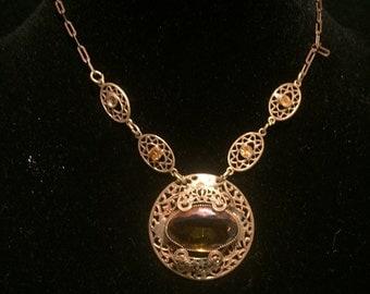 Art Deco Topaz Czech Choker Necklace