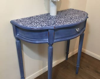 SOLD SOLD Shabby Chic Blue Brocade Damask Stencilled Console Table Drawer - Half Moon Side