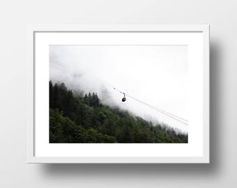 Mountain Fog and Gondola Art Print // Ascent