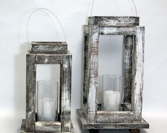 Pair of Shabby Chic White Candle Lanterns