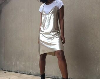 Metallic halter slip dress