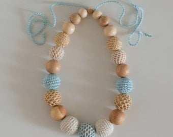 Teething necklace - Nursing necklace - Sling Accessory - Breastfeeding necklace - Crochet Jewelry for New Moms