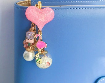Flamingo Summer Fruits Travellers Planner Charm, TN Planner Charm, USB Dangle, Zipper Pull, Bag Bling, Keychain and Small Notebook Accessory