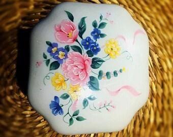 Vintage St Michael Porcelain Trinket Box Floral design