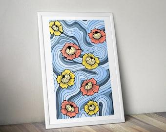 Floating Flowers Illustration