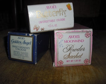AVON VINTAGE cOLLECTABLE decanters and powder sachet