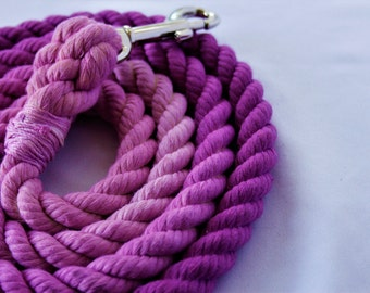 Orchid || Custm 100% Cotton Ombre Dyed Rope Leash