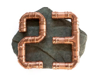 Copper house number on Lake District slate (2 numbers)