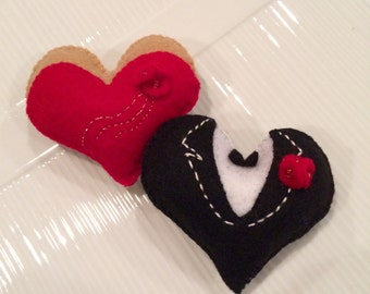 Valentine's Day hearts dressed up in red dress and tuxedo (set of 2)