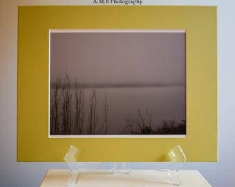 Nature Photography, Nature Print, Landscape Photography, 11 x 14 inch Matted Print, Handmade, Metallic Print, Fog Pond