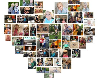 20 x 20 Custom Heart Photo Collage