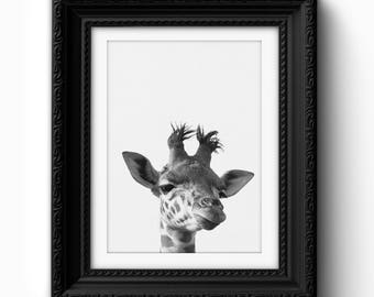 Giraffe Wall Art Print, Funny Giraffe Print, Giraffe Art, Giraffe Printable, Black and White, Modern Art, Home Decor, Giraffe Print