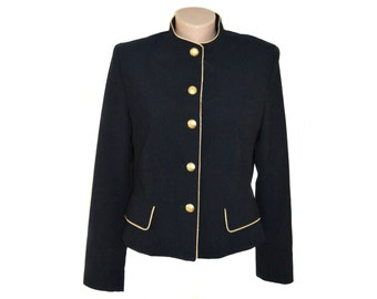 Vintage Pride women black blazer golden branded buttons