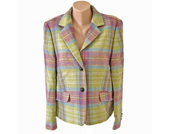 Vintage Clement ® women blazer jacket pure new wool checked pastel colors green