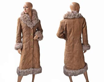 Vintage women brown fur leather long coat