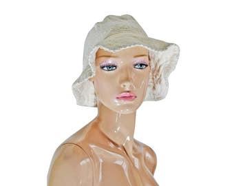 Vintage cotton beret hat beige ivory
