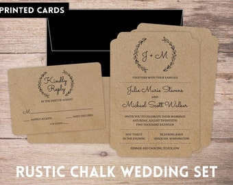 Wedding Invitations, Wedding Invitation, Personalized, Wedding Invites, RSVP card, RSVP's, Wedding invitation set, rustic black chalk