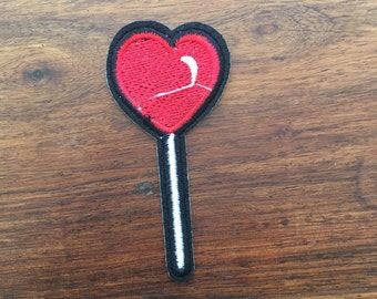 Heart Lollypop - Iron on Appliqué Patch