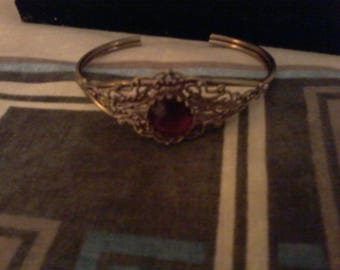 Ladies Cuff Bracelet with Premium Arcylic Ruby Stones