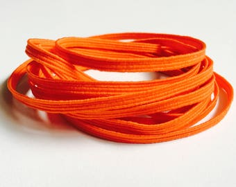 "Orange Skinny Elastic - 1/8"" wide Colored Craft & Sewing Elastic - 3mm Thin Orange Coloured Elastic Trim - Gentle Stretch for Baby Headband"