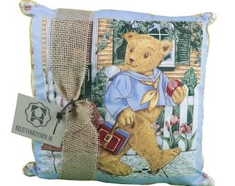 Pillow square Teddy blue romance